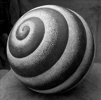 Asthall Sphere by Dominic Welch, Sculpture, Kilkenny Limestone